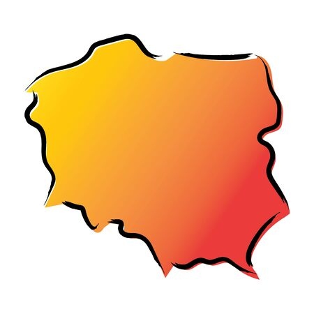 Stylized yellow red gradient sketch map of Poland