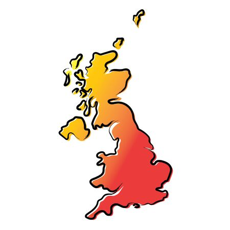 Stylized yellow red gradient sketch map of United Kingdom