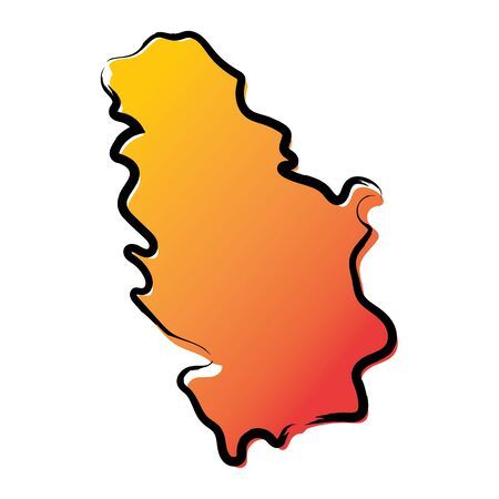 Stylized yellow red gradient sketch map of Serbia