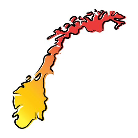 Stylized yellow red gradient sketch map of Norway