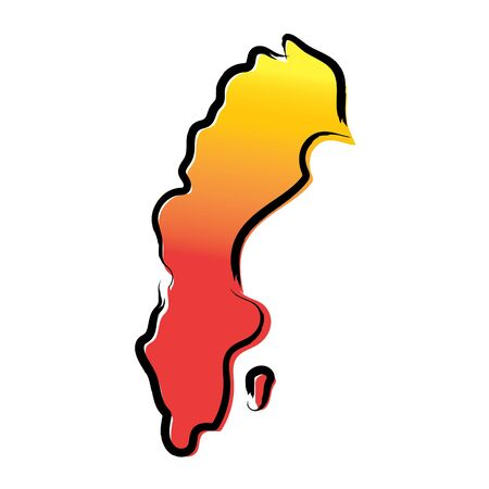 Stylized yellow red gradient sketch map of Sweden