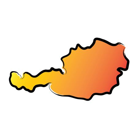 Stylized yellow red gradient sketch map of Austria