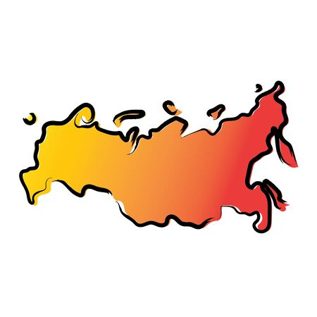 Stylized yellow red gradient sketch map of Russia Иллюстрация