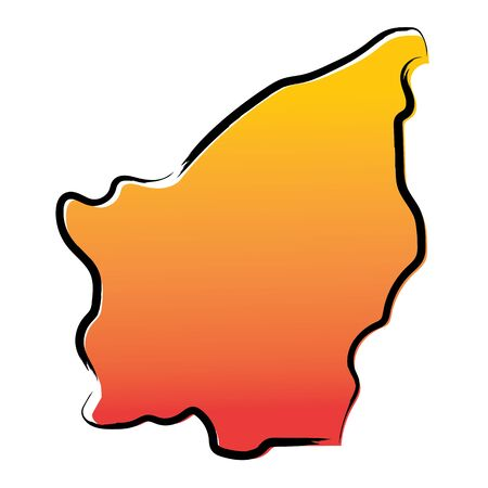 Stylized yellow red gradient sketch map of San Marino Иллюстрация