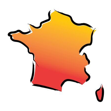 Stylized yellow red gradient sketch map of France