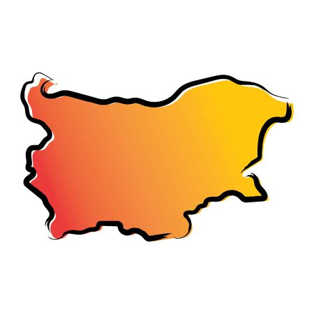 Stylized yellow red gradient sketch map of Bulgaria