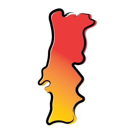 Stylized yellow red gradient sketch map of Portugal
