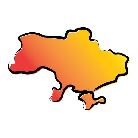 Stylized yellow red gradient sketch map of Ukraine Иллюстрация