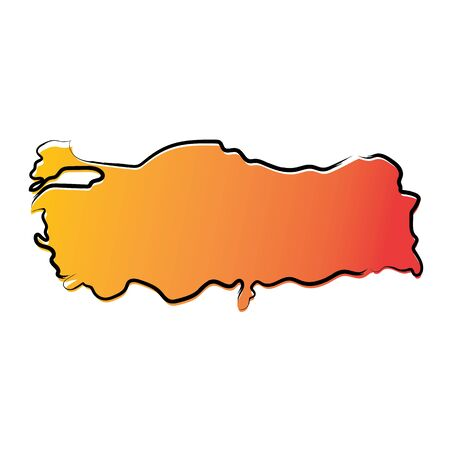 Stylized yellow red gradient sketch map of Turkey