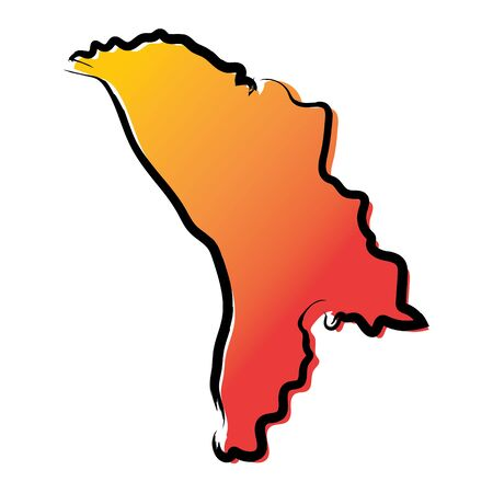 Stylized yellow red gradient sketch map of Moldova
