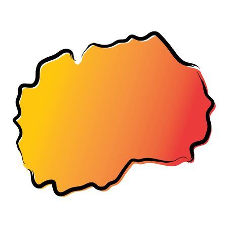 Stylized yellow red gradient sketch map of North Macedonia Иллюстрация