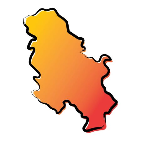 Stylized yellow red gradient sketch map of Serbia without Kosovo