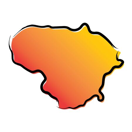 Stylized yellow red gradient sketch map of Lithuania