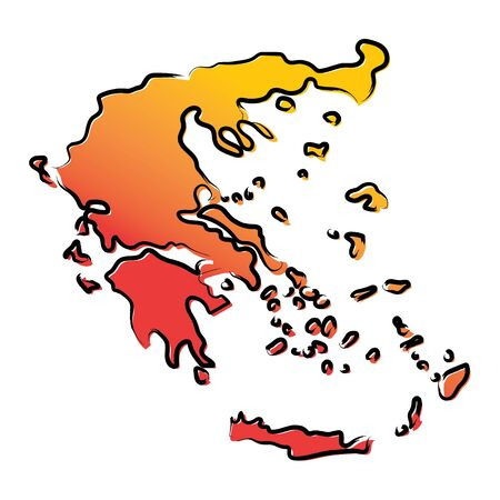 Stylized yellow red gradient sketch map of Greece