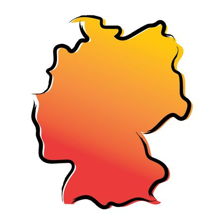 Stylized yellow red gradient sketch map of Germany