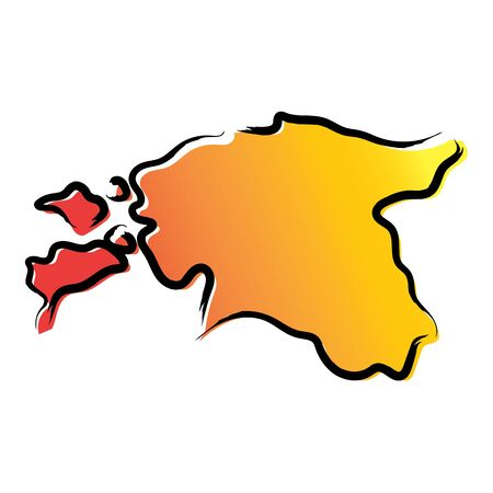 Stylized yellow red gradient sketch map of Estonia