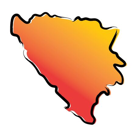 Stylized yellow red gradient sketch map of Bosnia and Herzegovina Иллюстрация