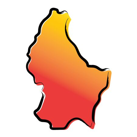 Stylized yellow red gradient sketch map of Luxembourg