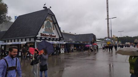 Munich, Germany, september 23, 2019: People from all over the world in Oktoberfest 2019 in Theresienwiese area, Munich, Germany Redakční