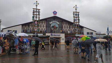 Munich, Germany, september 23, 2019: Paulaner festzelt tent in Oktoberfest 2019 in Theresienwiese area, Munich, Germany Editorial