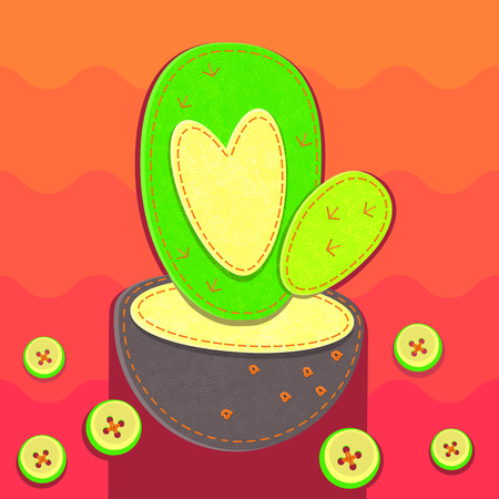 Rag cactus with heart. Color waves and buttons in the background. Illustration