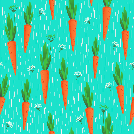 Carrots with tails and carrot flower on blue with white specks background. Illustration