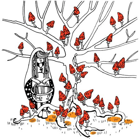 The girl came to collect fly agarics growing on a tree. She has a long cloak and the wicker basket.