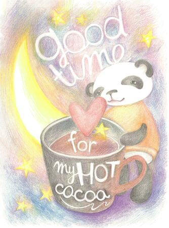 Colour pencil illustration. Little panda and her  big cocoa cup.