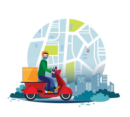 Safe contactless food and goods delivery by bike during a pandemic. Delivery of food and goods in medical masks. Delivery service.