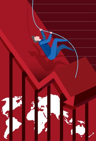 Vector of a man trying to save himself from falling into the recession economy, with a background of declining arrow on a chart.
