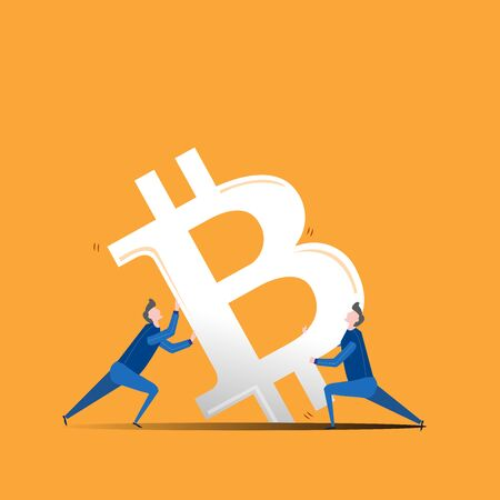 Illustration of a falling currency, and two men trying to stabilise it. Bitcoin black icon. Digital currency sign, blockchain based internet money, cryptocurrency symbol. Ilustração Vetorial