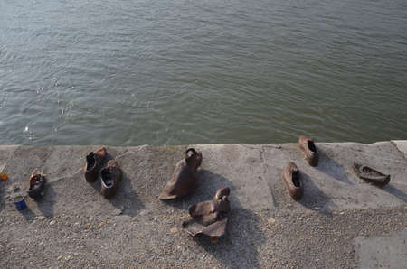 Budapest, Hungary: Shoes on the Danube Bank is a memorial to honor the people who were killed by fascist Arrow Cross militiamen in Budapest during World War II Editorial