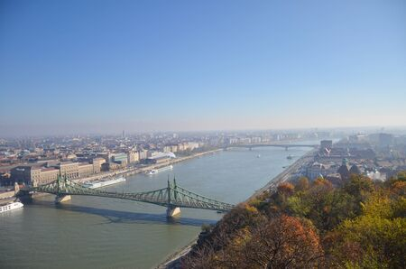 View of the Liberty bridge at Budapest, Hungary during afternoon sunny time.