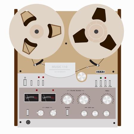 magnetofon: Ilustracja retro magnetofonu