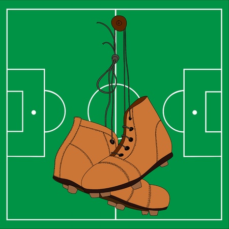 soccer boots: Illustration of retro soccer boots