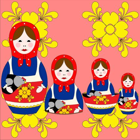 russian nesting dolls: Illustration of authentic Russian nesting dolls