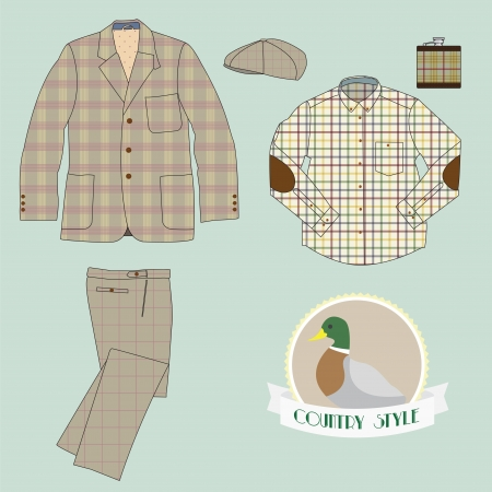 men's clothing: Illustration of mens clothing in country style, coat, pant, check shirt,hat, flask and funny logo with duck