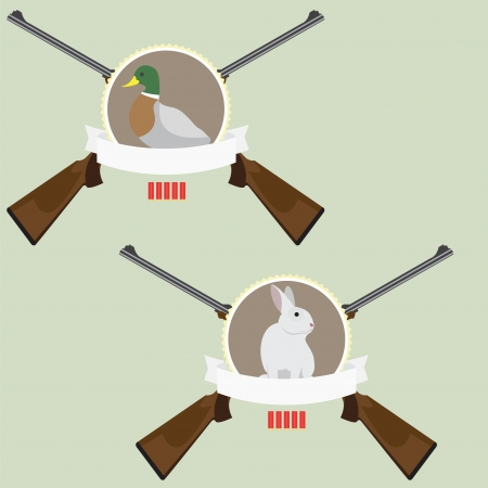 Illustration of 2 Hunting logo with rifles, bullets, rabbit, duck and tape for text Vector