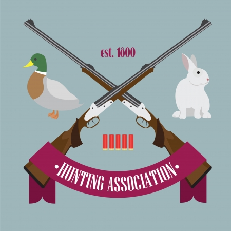 Illustration of Hunting Association logo with rifles, bullets, rabbit, duck and tape with the text Stock Vector - 17818740