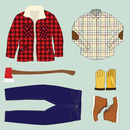 illustration of Lumberjack work clothing and accessories Vector