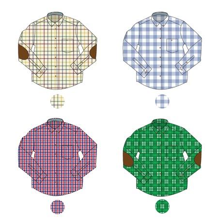Illustrazione di quattro uomini diversi gli assegno camicie con maniche lunghe
