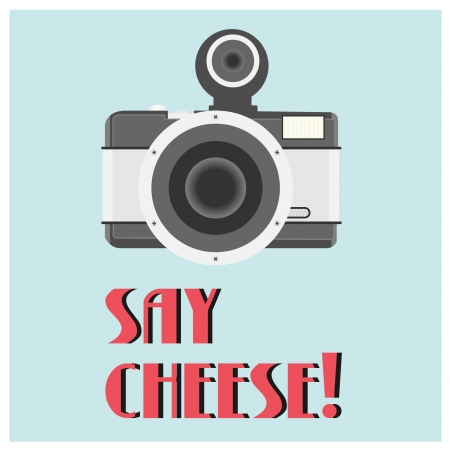 fish eye lens: Illustration of vintage camera poster Illustration