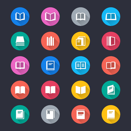 Book simple color icons Illustration