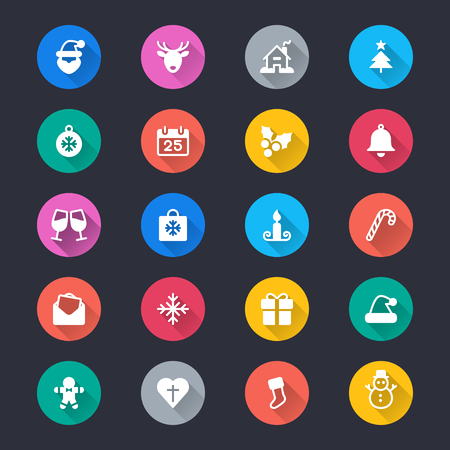 Christmas simple color icons