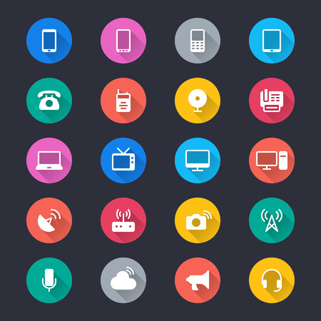 device: Communication device simple color icons Illustration