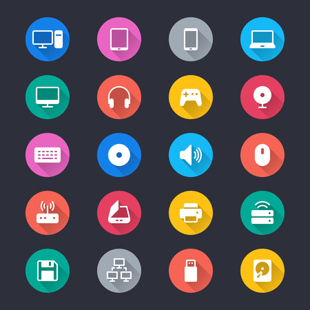 hard drive: Computer simple color icons Illustration