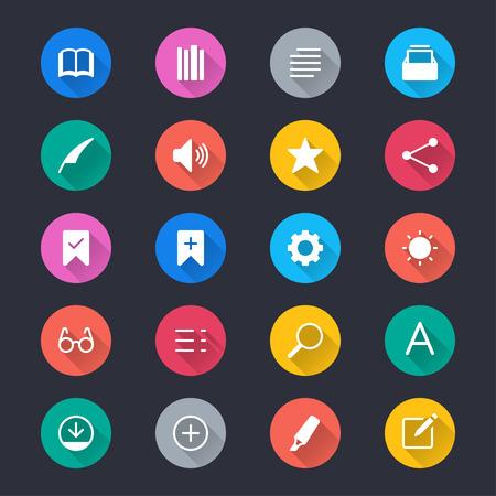 E-book reader simple color icons Ilustração