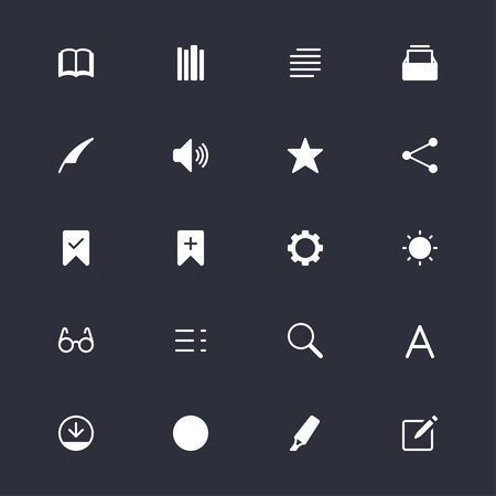 E-book reader simple icons