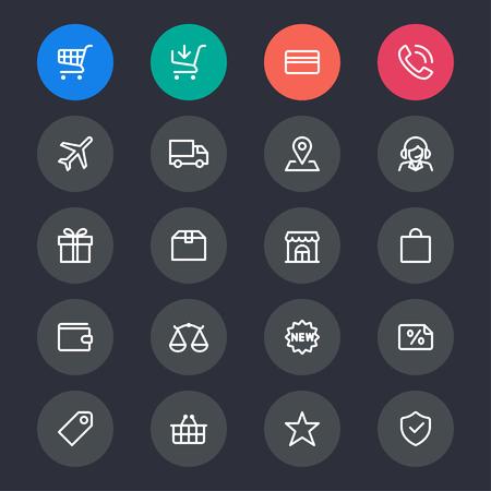 E-commerce line icons Ilustração