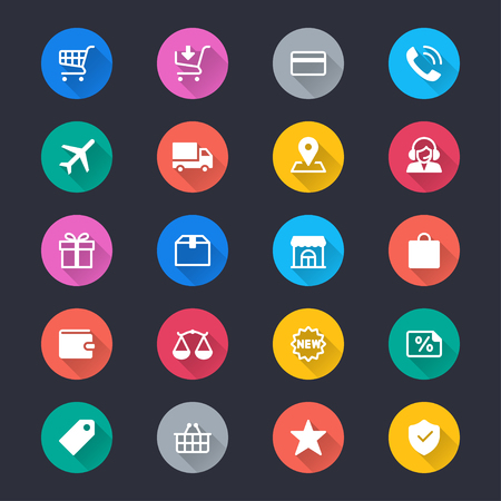 E-commerce simple color icons 向量圖像